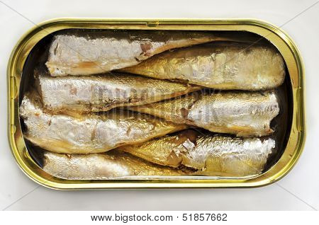 an open can of sardines on a white background