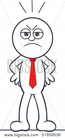 Cartoon Businessman Angry