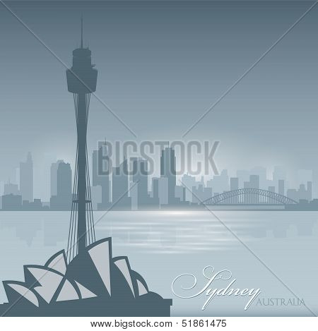 Sydney Australia Skyline City Silhouette Background