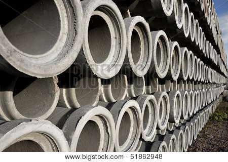 Stack Of Concrete Drainage Pipes