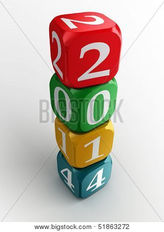New Year 2014 Colorful Dice Tower