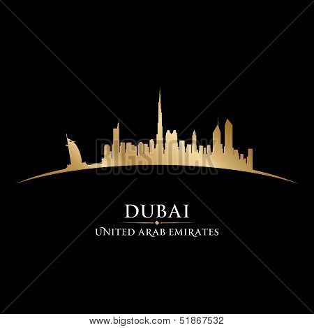 Dubai Uae City Skyline Silhouette Black Background