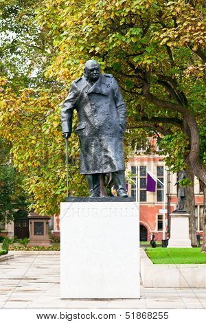 Statue of Winston Churchill in Parliament Square, London