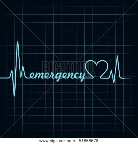 heartbeat make a emergency text and heart symbol stock vector