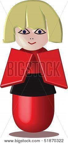 Kokeshi doll: vector cartoon character