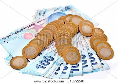 Pile Of Turkish Coins Isoladet