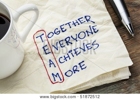 TEAM acronym (together everyone achieves more), teamwork motivation concept - a napkin doodle