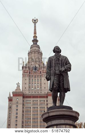 Moscow State University And Lomonosov Statue