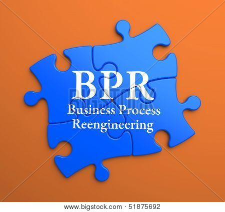 BPR on Blue Puzzle Pieces. Business Concept.