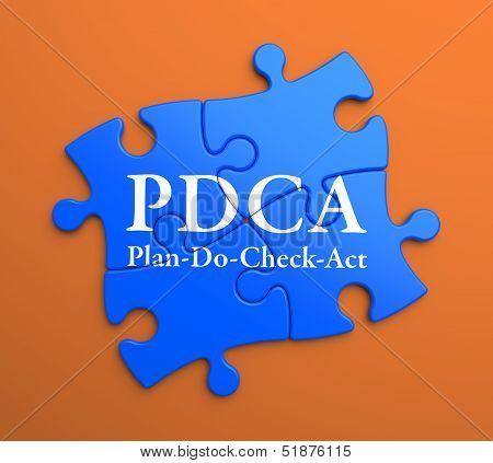 PDCA  Written on Blue