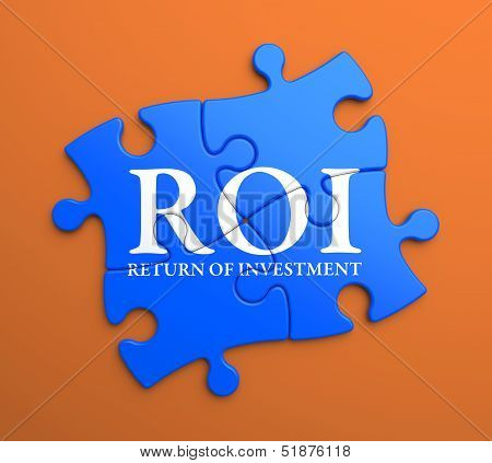 ROI on Blue Pieces. Business Concept.