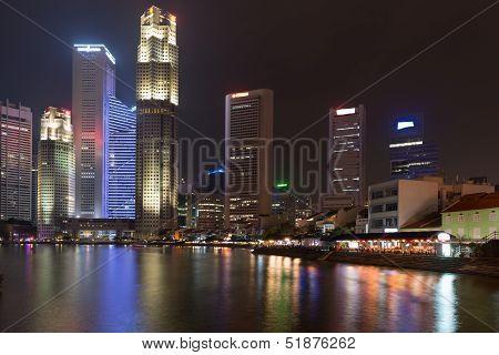 Illuminated Skyline Of Singapore At Night