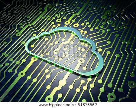Cloud technology concept: Cloud on circuit board background
