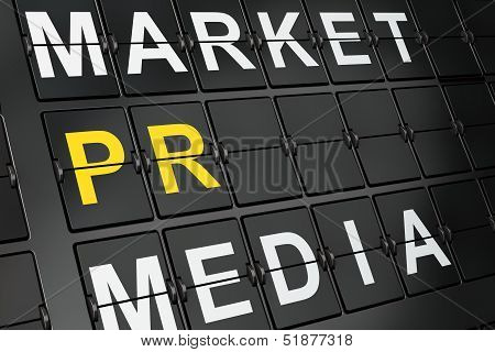 Marketing concept: PR on airport board background