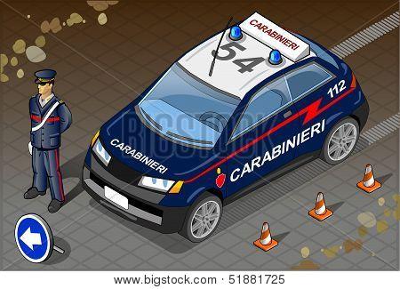 Isometric Italian Carabinieri Police Car