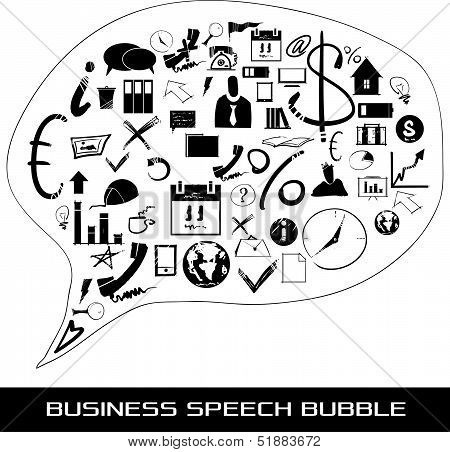 speach bubble with business items