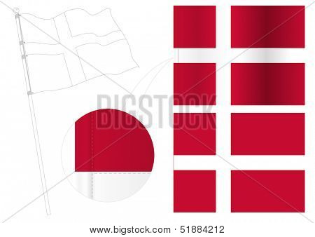 detailed vector Dannebrog (Denmark flag)