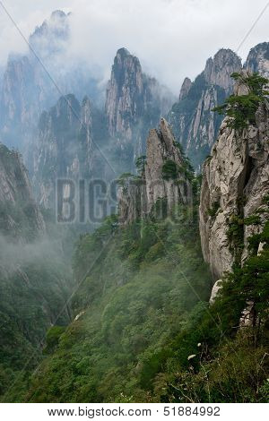 Grotesque Rocks On Foggy Mt. Huangshan