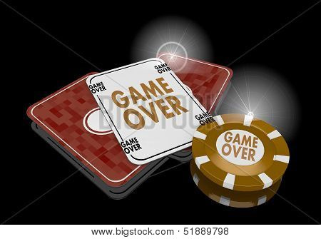 3D Graphic Of A Golden Game Over Sign  On Poker Cards