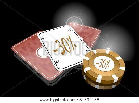 3D Render Of A Exclusive Discount Symbol  On Poker Cards