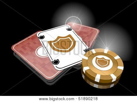 3D Graphic Of A Posh Protection Symbol  On Poker Cards