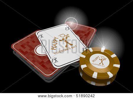 Happy Valentines Day Symbol  On Poker Cards