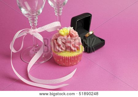Wedding Theme Bridal Pair Of Champagne Flute Glasses With Pink Cupcake And Wedding Ring In Black Jew