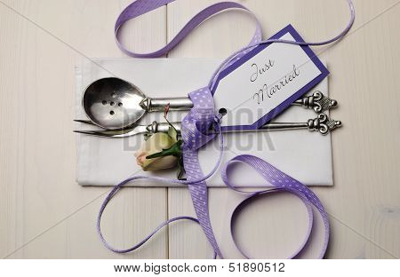 Pretty Purple Polka Dot Wedding Table Place Setting On White Shabby Chic Table With Just Married Tag