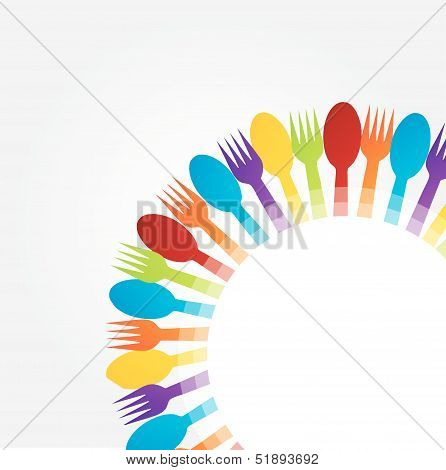 Design element using spoons and forks