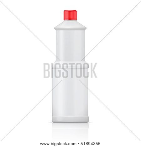 White plastic bottle for bleach.