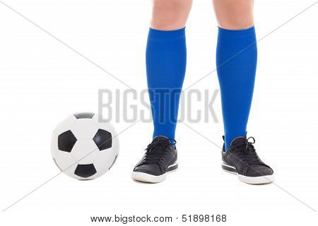 Legs Of Soccer Player In Blue Socks With Ball Isolated On White