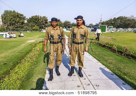 Policemen Guard Connaught Place