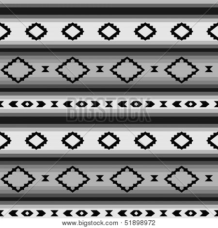 Striped mexican blanket in shades of gray seamless pattern, vector