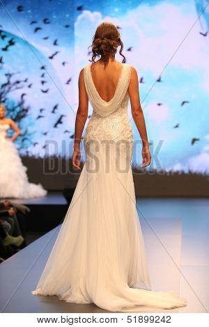 ZAGREB, CROATIA - OCTOBER 5: Fashion model in wedding dress on 'Wedding days' show on October 5, 2013 in Zagreb, Croatia.