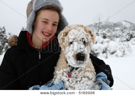 Teen With Snow Dog