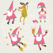 4 funny Santa Claus and Deer in vector set. Dancing Santa and his friend Deer, Santa drinking hot te