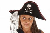 picture of pirate girl  - Young pirate girl with pirates hat on - JPG