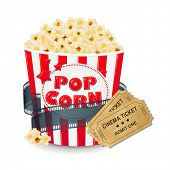 stock photo of popcorn  - Popcorn In Cardboard Box With Ticket Cinema - JPG