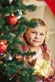 Adorable girl with giftbox looking at camera out of decorated firtree