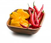 chili peppers and habanero in wooden bowl on white background
