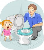 stock photo of toilet  - Illustration of a Father Teaching His Young Daughter How to Flush the Toilet - JPG