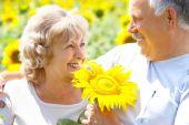 picture of elderly couple  - Smiling happy elderly couple in love outdoor - JPG