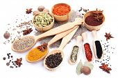 stock photo of spice  - Various spices and herbs isolated on white - JPG
