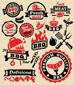 stock photo of meats  - vector color barbecue grill party icons set - JPG