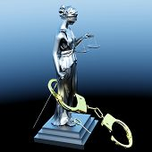 pic of handlock  - Lady of Justice  statue and handcuffs - JPG