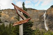 Weathered Sign At Takakkaw Falls