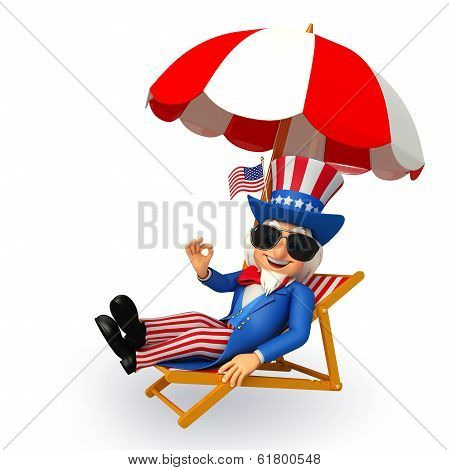 uncle sam sitting on the beach chair