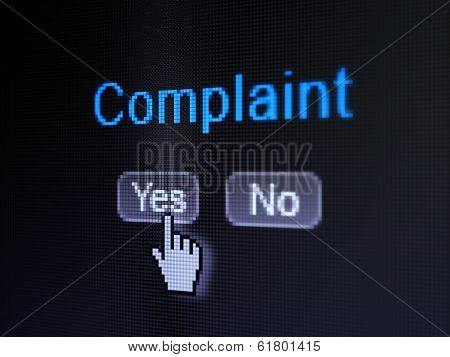 Law concept: Complaint on digital computer screen