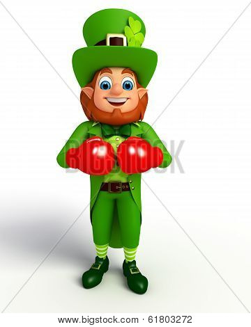 leprechaun for patrick's day with boxing gloves