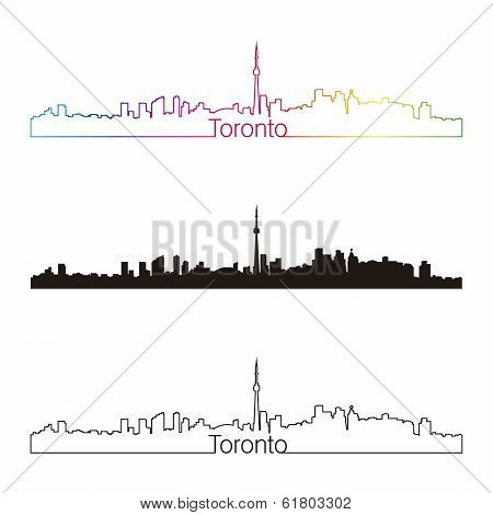 Toronto Skyline Linear Style With Rainbow